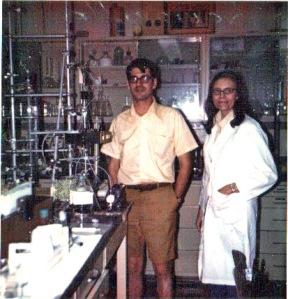 Aunt Rena in her lab coat.