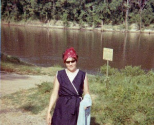 Mom at the boat launch.