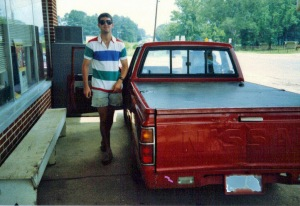 Ben, on his way back to college at Auburn University.  Check out those acid-washed shorts!