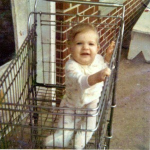 Me in a shopping cart.