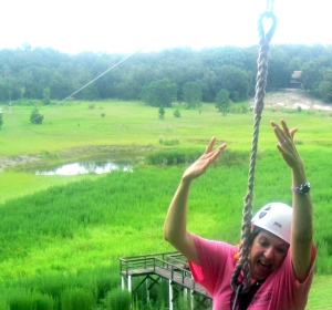 Jumping from zip line.