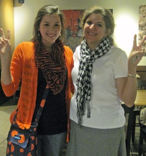 My Auburn friend Van and I show our team spirit.  See, we canall be friends.