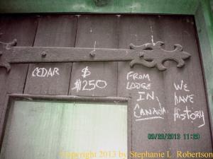 Cedar door with a history.