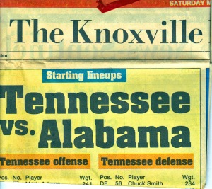 The newspaper headlines on the Sunday after the game.