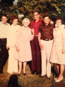 Uncle buddy, Aunt Mary Lou, papa, Uncle James, and Aunt Grace.  Wasn't Uncle Buddy handsome!