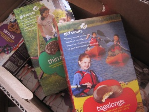 A box-load of Girl Scout cookies.