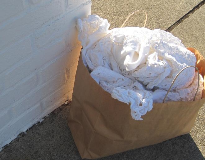 My favorite find:  a Battenburg Lace table cloth!