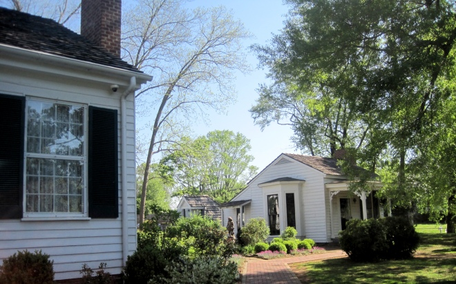 Side of house and view of cottage where Anne Sullivan took Helen.
