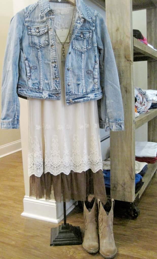 Lady's, now this is Stephanie style!  What is cooler than denim and lace?