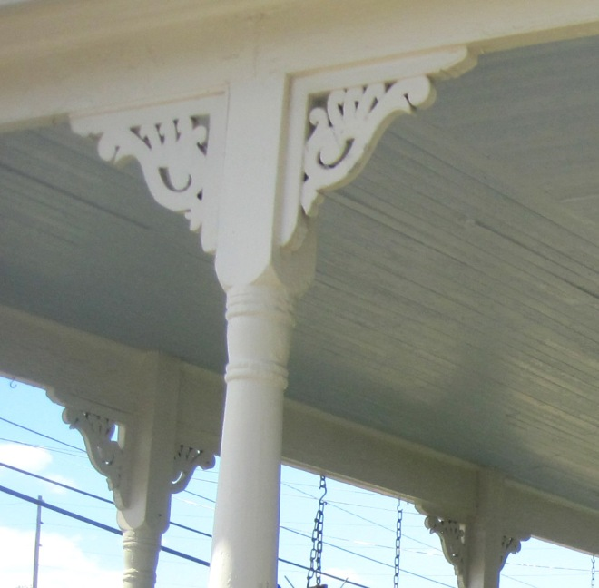 Victorian trim work adds charm to the front porch.