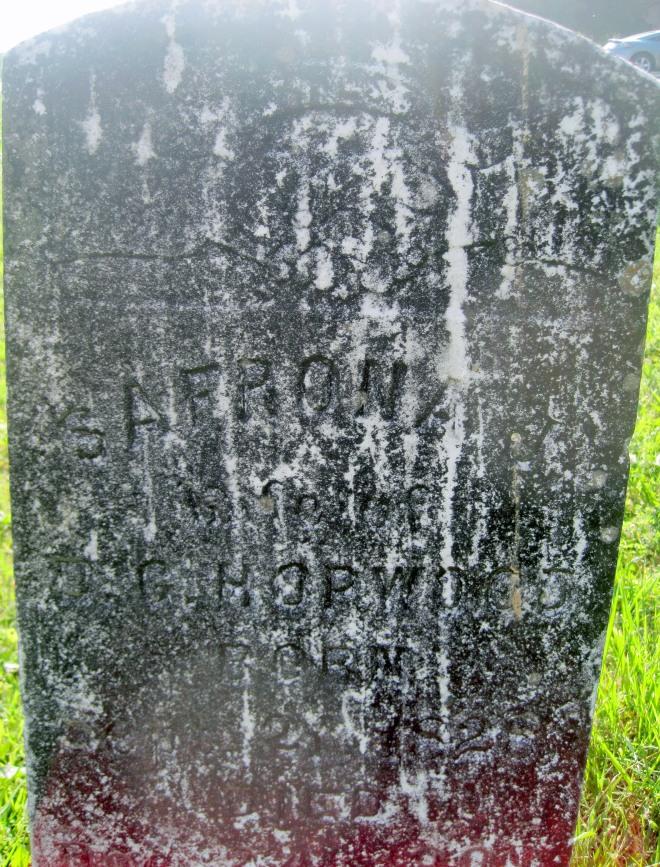 Safrona Hopwood's Tombstone.
