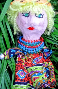 My papier-mâché hippie puppet from college art class.