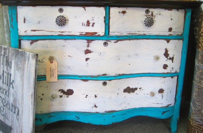 Teal, distressed dresser.