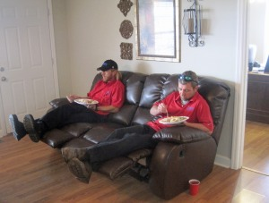 A couple of the HVAC crew members on lunch break.