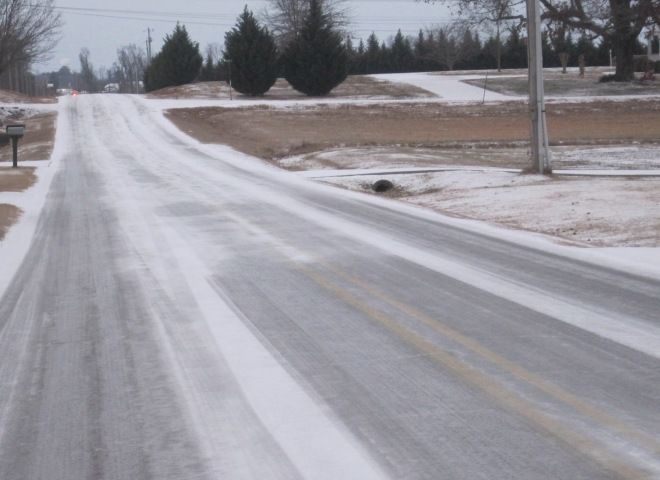 Icy road to our south.
