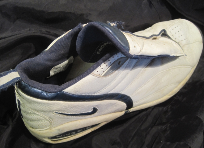 Sorry, I only have a basketball sneaker.  Lefty never played anything but back-yard football.