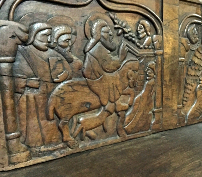 Spanish Inquisition carved bench.